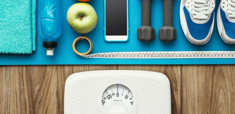 exercise equipment, scale, and healthy food