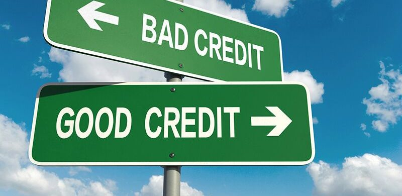 "arrow signs that read ""good credit"" and ""bad credit"""
